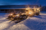 Snowmobiles in the Freezing Cold Temperatures as Low as -47 Celsius. Lapland, Sweden Reprodukcja zdjęcia autor Green Light Collection