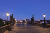 Charles Bridge at Dusk with Castle District and St. Vitus Cathedral in the Background, Prague Photographic Print by Green Light Collection
