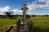 Celtic Cross Overlooking the Green Fields, Athenry, County Galway, Ireland Photographic Print by Green Light Collection