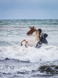 Horseback Riding in the Sea. Icelandic Horse and Rider at Longufjorur Beach Photographic Print by Green Light Collection