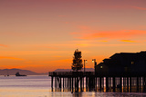 Silhouette of a Pier, Stearns Wharf, Santa Barbara, California, USA Photographic Print by Green Light Collection