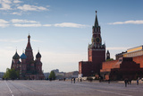 Saint Basils Cathedral and Kremlin Spasskaya Tower, Red Square, Moscow, Russia Photographic Print by Green Light Collection