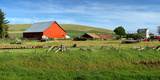 Red Barn in a Country Farm Eastern Washington State, USA Photographic Print by  Panoramic Images