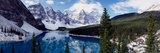 Lake with Snow Covered Mountains in the Background, Moraine Lake, Banff National Park, Alberta Fotografisk tryk af Panoramic Images