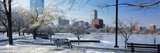 Benches in a Park, Charles River Park, Boston, Massachusetts, USA Photographic Print by  Panoramic Images