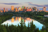 Reflection of Downtown Buildings in Water at Sunrise, North Saskatchewan River, Edmonton Photographic Print by Green Light Collection