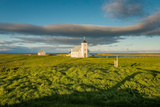 Grasslands and Flatey Church, Flatey Island, Borgarfjordur, Iceland Photographic Print by Green Light Collection