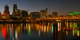 Skyline with City Light at Night, Portland, Multnomah County, Oregon, USA Photographic Print by  Panoramic Images