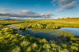 Marshlands and Summer Houses, Flatey Island, Borgarfjordur, Iceland Photographic Print by Green Light Collection
