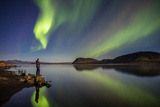 Aurora Borealis or Northern Lights at Lake Thingvallavatn, Thingvellir National Park, Iceland Photographic Print by Green Light Collection