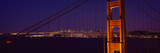 Suspension Bridge across a Bay at Dusk, Golden Gate Bridge, San Francisco Bay, California Photographic Print by  Panoramic Images