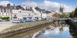 Cathedrale St-Corentin Reflecting in the River Odet, Quimper, Finistere, Brittany, France Photographic Print by  Panoramic Images