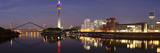 Rheinturm Tower and Gehry Buildings at Dusk, Media Harbour, Dusseldorf, North Rhine Westphalia Photographic Print by  Panoramic Images