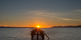 Silhouette of Berkeley Pier at Sunset, Berkeley, California, USA Photographic Print by  Panoramic Images