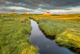 Marshland and Summer Houses, Flatey Island, Borgarfjordur, Iceland Photographic Print by Green Light Collection