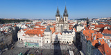 Aerial View of Jan Hus Memorial and Tyn Church, Prague Old Town Square, Prague, Czech Republic Photographic Print by Green Light Collection