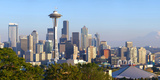 Seattle Skylines with Mt Rainier in Background, King County, Washington State, USA Photographic Print by  Panoramic Images