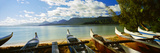 Outrigger Canoes on the Beach, Oahu, Hawaii, USA Photographic Print by  Panoramic Images