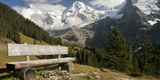 Bench with Mt Eiger and Mt Monch in the Background, Kleine Scheidegg, Bernese Oberland, Bern Photographic Print by  Panoramic Images