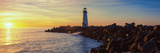 Lighthouse on the Coast at Dusk, Walton Lighthouse, Santa Cruz, California, USA Photographic Print by  Panoramic Images