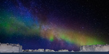 Digital Composite - Aurora Borealis or Northern Lights in Iceland and Icebergs in Greenland Photographic Print by Green Light Collection