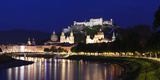 Old Town with Hohensalzburg Castle and Dom Cathedral at the River Salzach at Dusk, Salzburg Photographic Print by  Panoramic Images