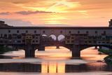 Ponte Vecchio Bridge at Sunset, Arno River, Florence, Tuscany, Italy Photographic Print by Green Light Collection