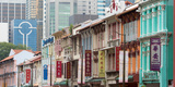 Restored Buildings Against the Modern Buildings, Chinatown, Singapore Photographic Print by  Panoramic Images