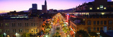 High Angle View of a City Lit Up at Dusk, Third Street Promenade, Santa Monica, California, USA Photographic Print by  Panoramic Images