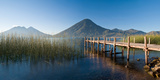 Jetty in a Lake with a Mountain Range in the Background, Lake Atitlan, San Marcos Photographic Print by  Panoramic Images