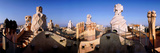 Architectural Details of Rooftop Chimneys, La Pedrera, Barcelona, Catalonia, Spain Fotografisk tryk af Panoramic Images,
