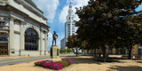 The Hiker Sculpture at Theodore Roosevelt Plaza, Buffalo Savings Bank, General Electric Building Photographic Print by  Panoramic Images