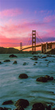 Suspension Bridge across a Bay at Dusk, Golden Gate Bridge, San Francisco Bay, California Photographic Print by  Panoramic Images