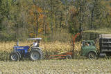Farm Machinery Harvesting Corn, New England Photographic Print
