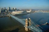 Roebling Suspension Bridge and Three Rivers Stadium on the Ohio River in Cincinnati, Ohio Photographic Print
