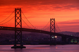 View of Bay Bridge from Treasure Island at Sunset, San Francisco, California Photographic Print