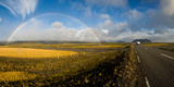 Road Passing Through Landscape with Full Rainbow, Route 1, Iceland Photographic Print by  Panoramic Images