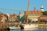 Marina on Spa Creek, Annapolis, Md with the State House in the Background Photographic Print