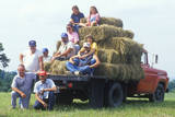Multi Generational Farm Family on Trucked at Hay Baling Time, Blue Ridge Mountains, VA Photographic Print