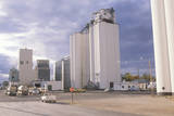 Grain Silo Co-Op in Ks with Cloudy Skies Photographic Print