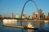 Tugboat Pushing Barge in Front of Archway in St. Louis, Missouri Photographic Print