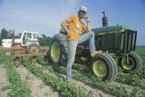 Farmer Tending to Soybeans by a Tractor in Edwardsburgh, MI Fotografisk tryk
