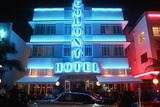 Neon Sign for the Colony Hotel at Night in South Beach, Florida Photographic Print