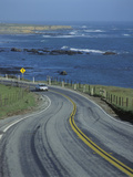 Spring Road on Route 1 Pacific Coast Highway in California with View of the Pacific Ocean Photographic Print