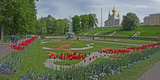 Formal Garden in Front of a Church of Peterhof Grand Palace, Petrodvorets, St. Petersburg, Russia Photographic Print by  Panoramic Images