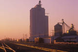 Grain Silo Co-Op in Ks at Sunset Photographic Print