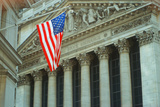 American Flag Flying at New York Stock Exchange, New York Photographic Print