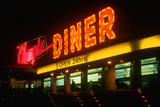 Neon Diner Sign at Night Near Hartford, Connecticut Photographic Print