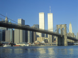 View from East River of the Brooklyn Bridge and Skyline in New York City, New York Photographic Print