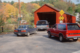 Cars Entering Covered Bridge on an Autumn Sunday, West Cornwall, Connecticut Photographic Print
